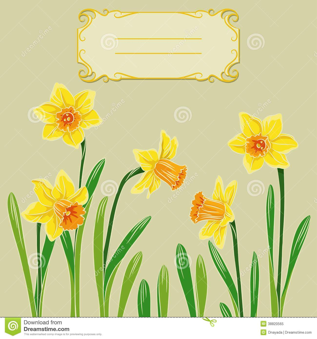 Card with in center. Daffodil clipart easter png stock