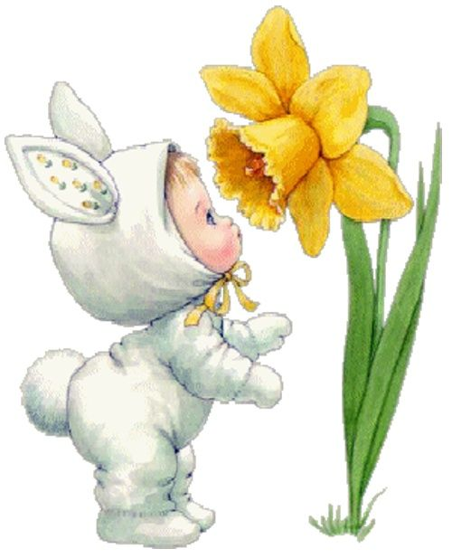 Cuteness bunnies and peeps. Daffodil clipart easter jpg transparent stock