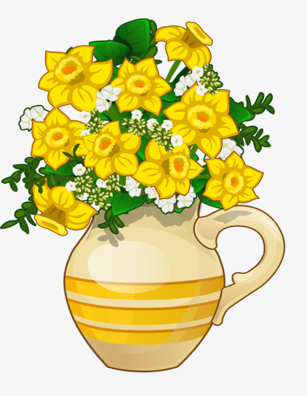 Daffodil clipart illustration. Vase daffodils flowers png banner black and white stock
