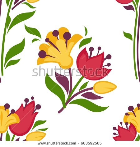 Easter seamless pattern spring. Daffodil clipart lily vector black and white stock