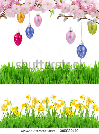 Colorful hanging easter eggs. Daffodil clipart row clip art library stock
