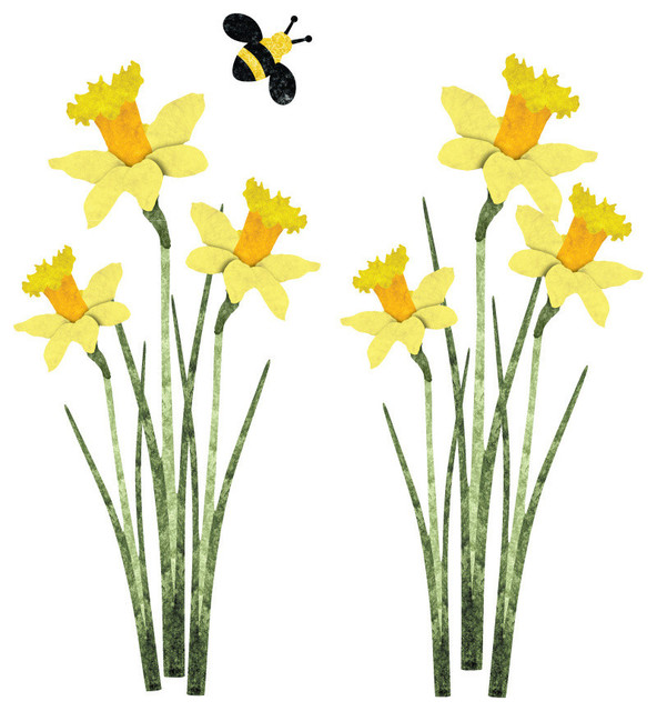 Daffodil clipart wind. And bee wall stickers vector library stock