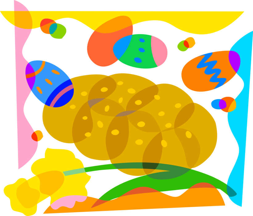 Daffodil vector. Colored easter eggs bread
