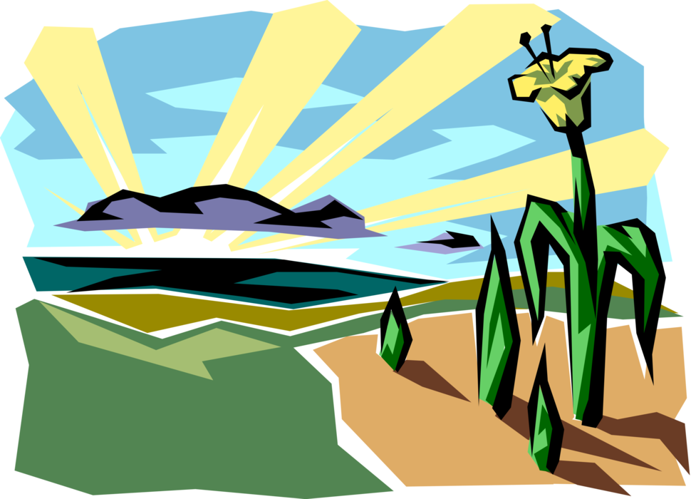 Daffodil vector. Morning sunrise with image