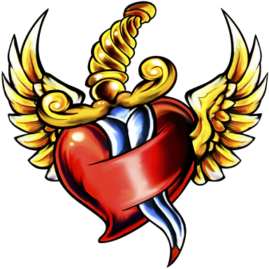 Dagger clipart heart. Wings production ready artwork