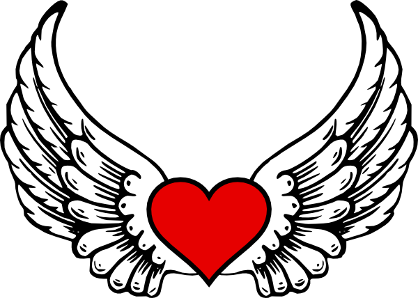 Drawing clipart heart. With angel wings