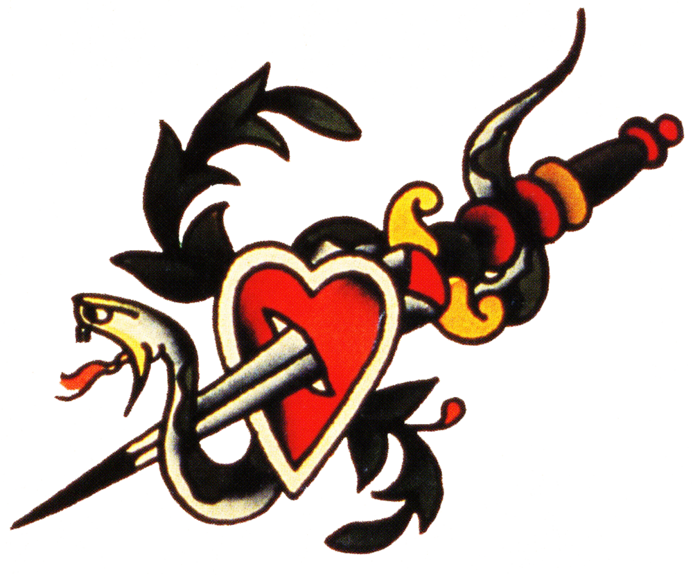 Sailor jerry vintage tattoo. Dagger clipart heart clip freeuse stock