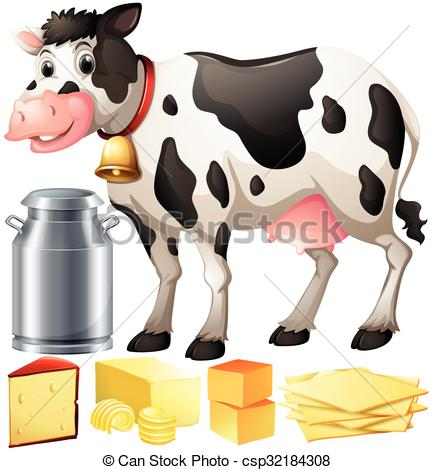 Cow and products illustration. Dairy clipart freeuse stock