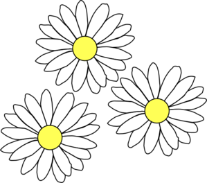 Drawing daisies. Blue daisy flower clipart