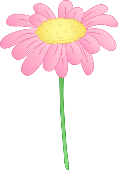Daisy clipart plant insect. Pretty pink flower applique