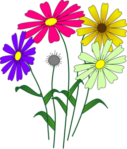 Daisies clipart four flower. Flowers clip art for