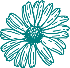 Daisies clipart multicolor. Teal flower