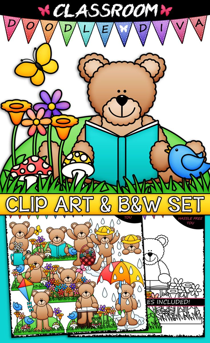 Spring teddy bears classroom. Daisies clipart scene clip art freeuse download