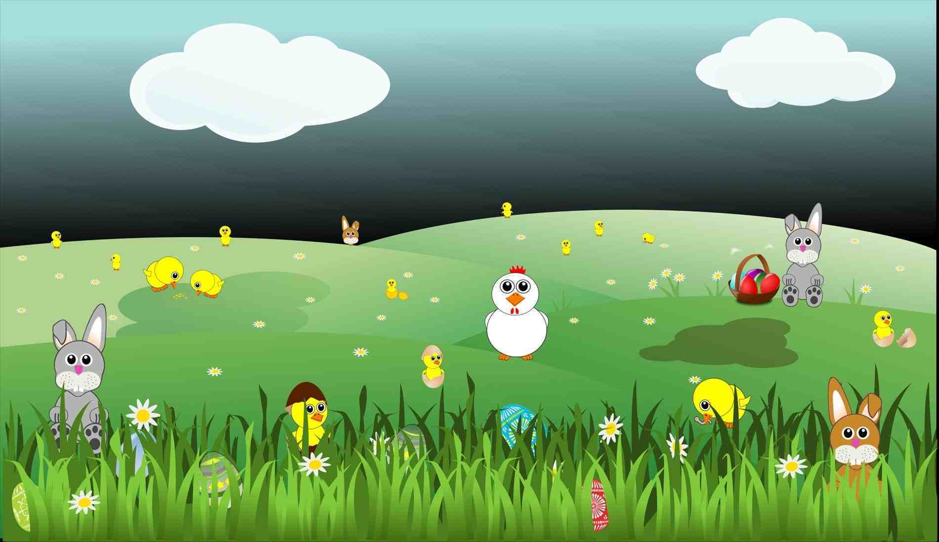 Daisy clipart landscape. With bunnies chicks eggs