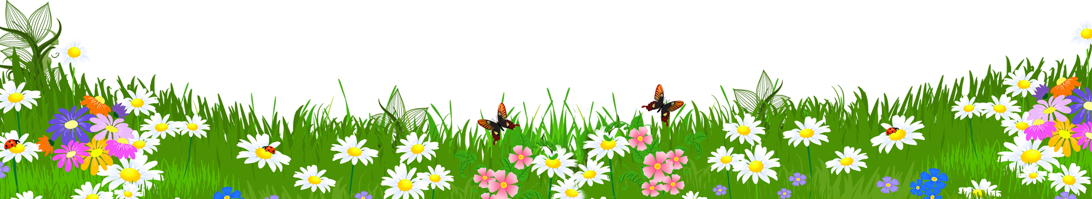 Grass ground with clipart. Flowers background png svg library