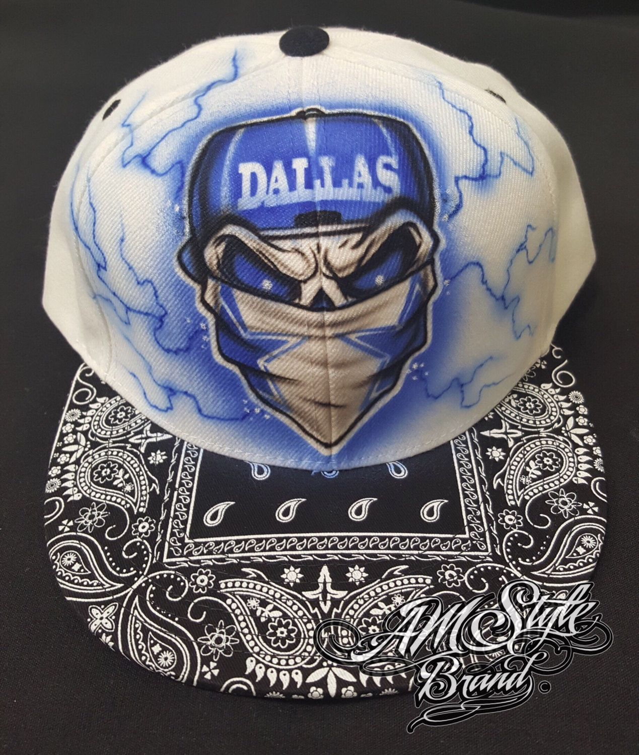 Skull airbrush snap back. Dallas cowboys clipart bandanas jpg freeuse