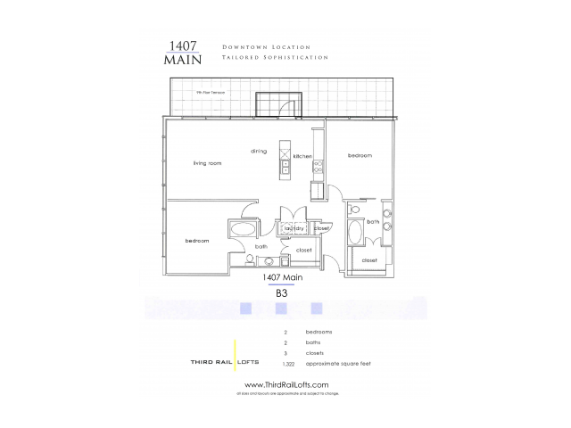 Dallas drawing downtown. Bed bath apartment