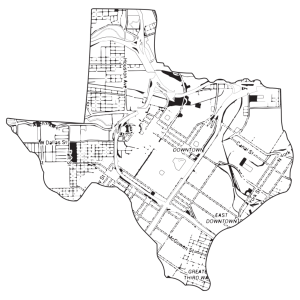 Dallas drawing downtown. Flask with map cities