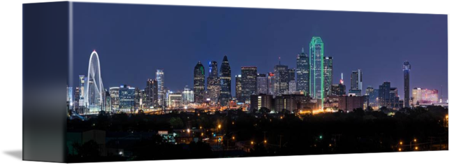 Dallas drawing skyline. Twilight pano by tod