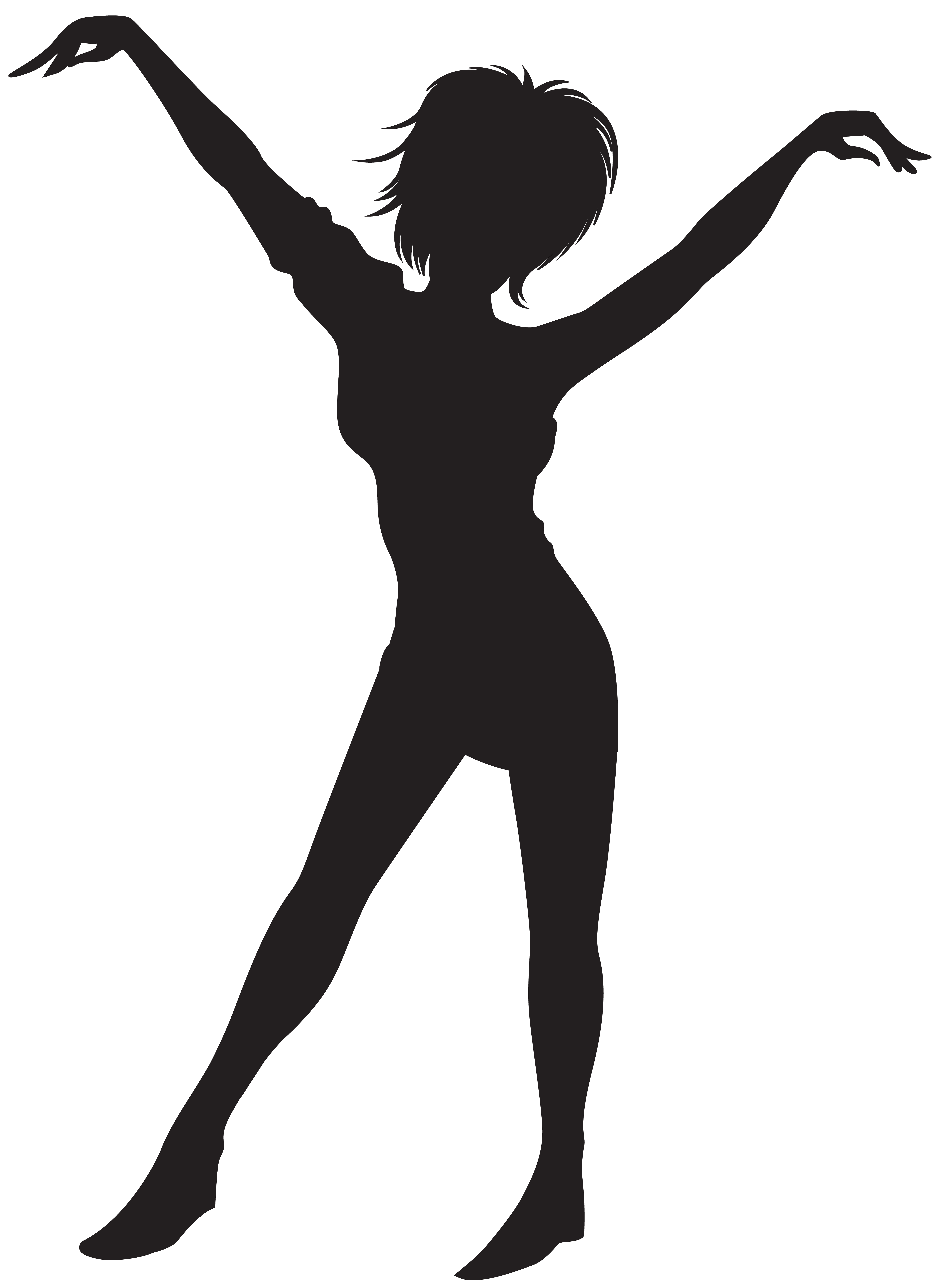 Dancing girl silhouette image. Dance clip art png svg free stock