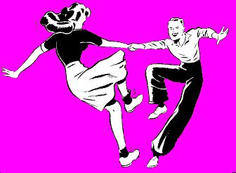 Best the art of. Dancing clipart vintage banner black and white