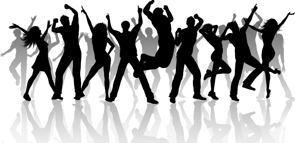 Grayscale dancers png . Club vector crowd dancing clip art free