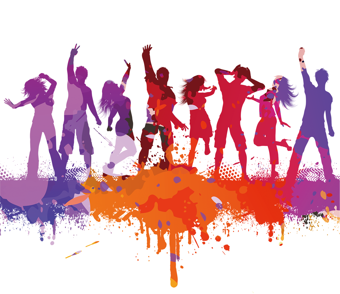 Party people dancing png. Dance silhouette color silhouettes