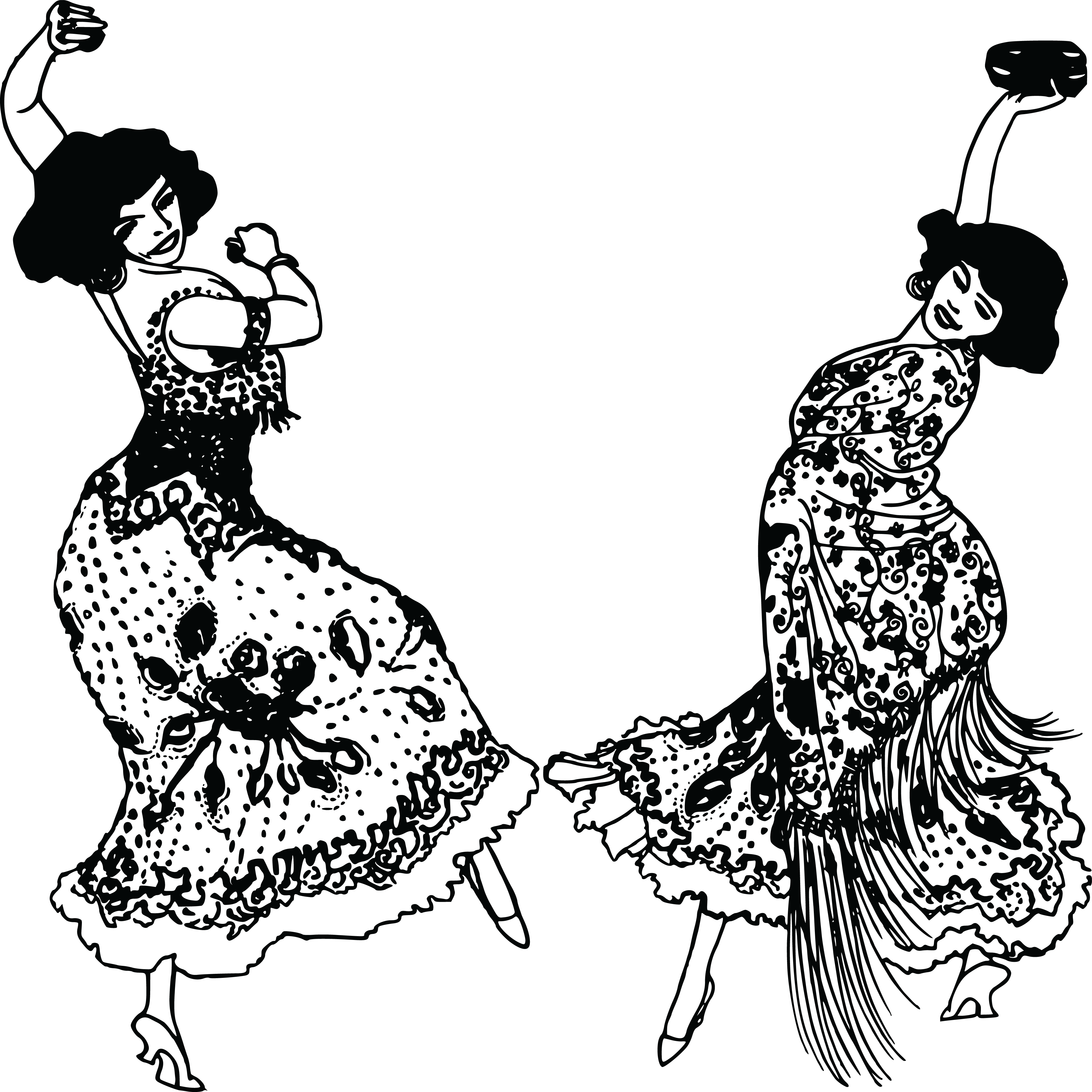 Dancer clipart black and white. Spanish clip arts for