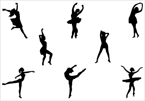 Dance line silhouette at. Dancer clipart danceline banner royalty free