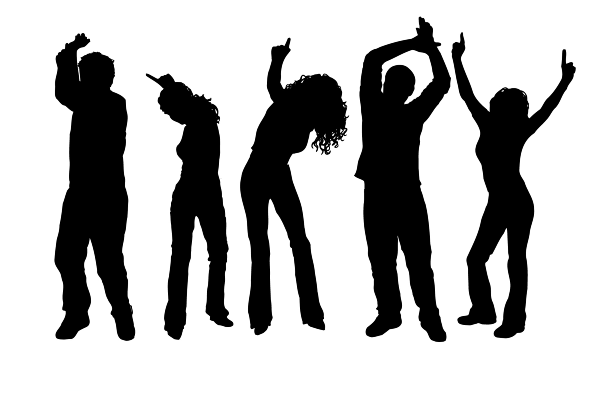 Dancer clipart party. Dance silhouette at getdrawings