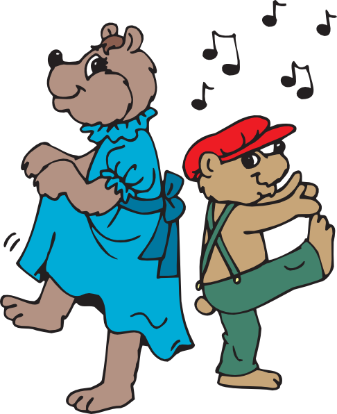 Bears clip art at. Dancing clipart svg freeuse stock