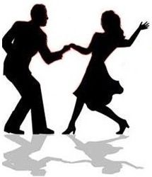 Dancing clipart. Silhouette swing couple by