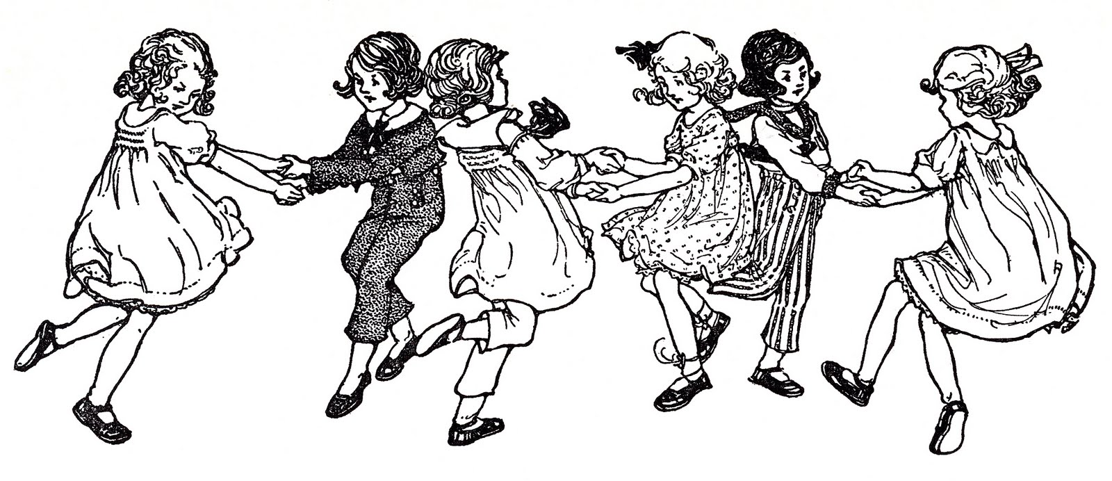 Vintage image children swedish. Dancing clipart children's banner free