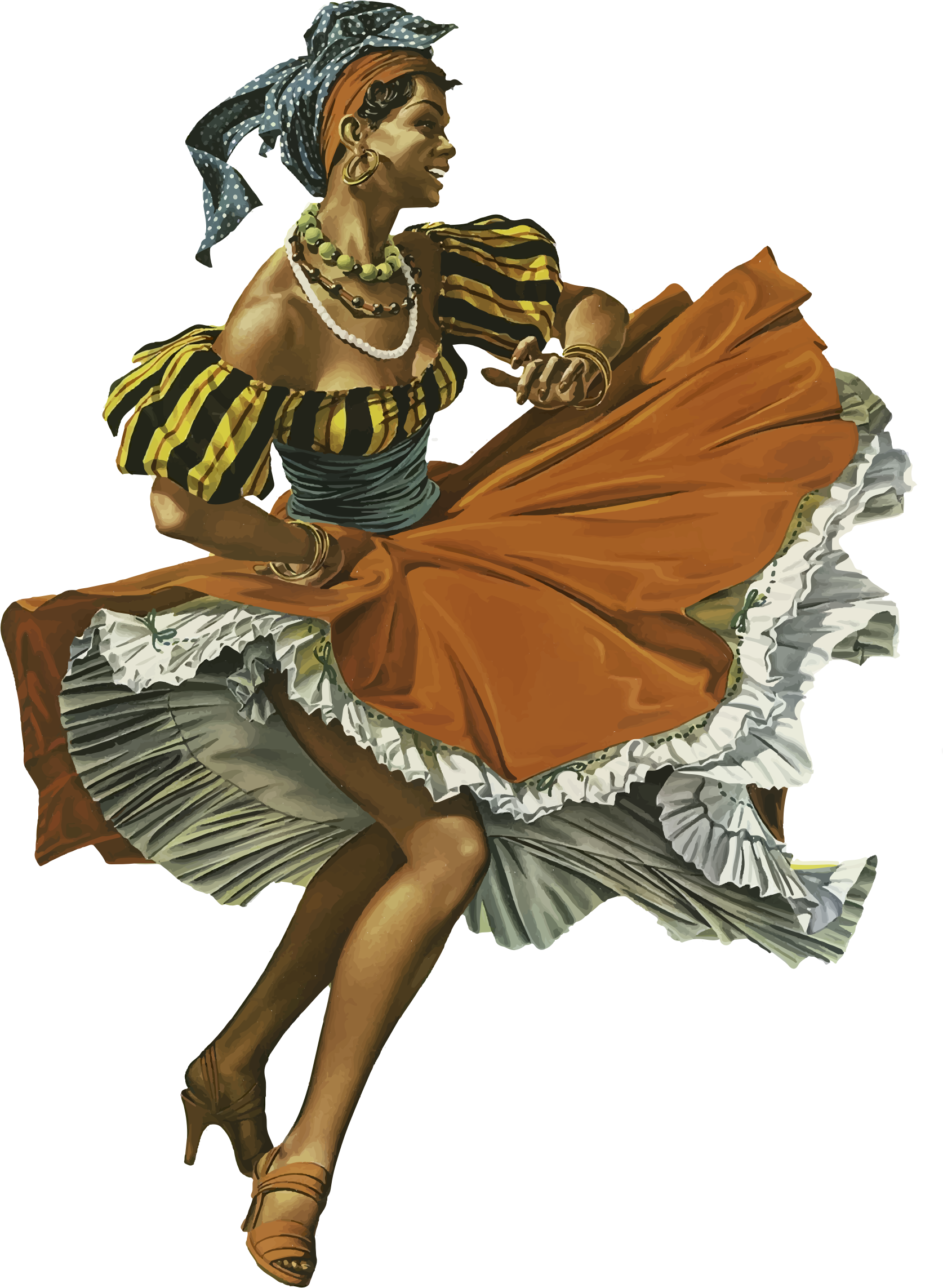 Caribbean woman big image. Dancing clipart vintage png black and white library