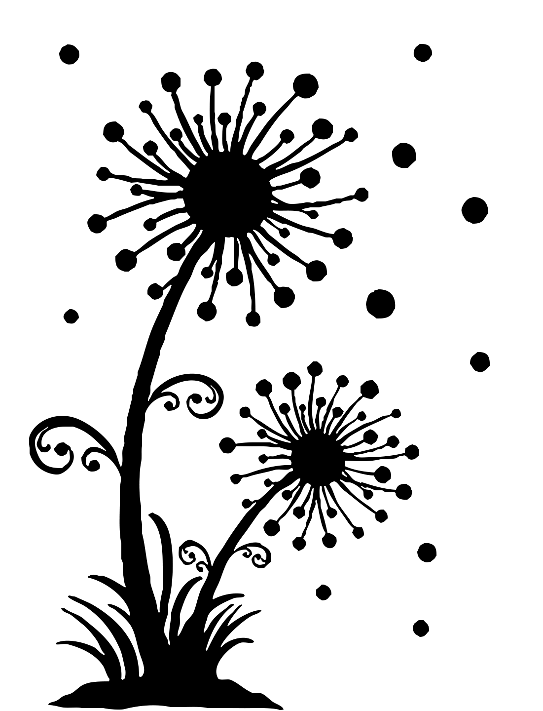 Dandelion clipart flower side. Free printable stencils