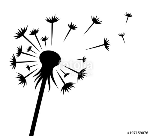 Dandelion clipart flower side. Silhouette clip art at