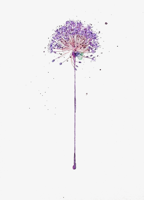 Hand painted decorative background. Dandelion clipart purple jpg library library