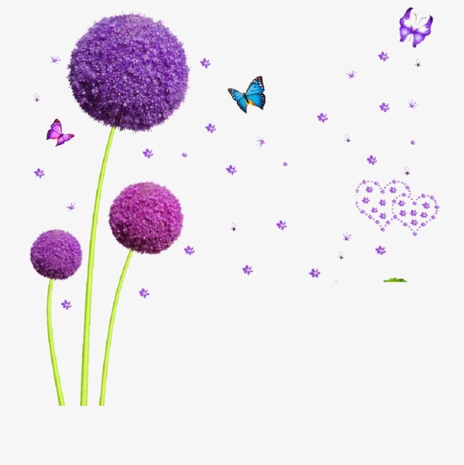 Creative su butterfly png. Dandelion clipart purple png black and white download