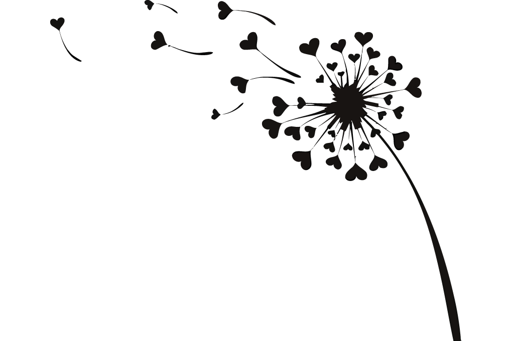 Dandelion clipart vector. Flying love hearts image