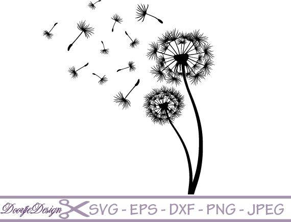 Dandelion clipart vector. Svg files for cricut