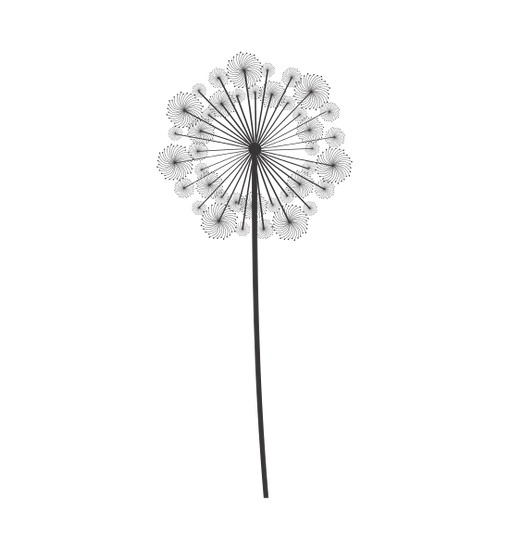Dandilion drawing pen. Dandelion seed decoration icon