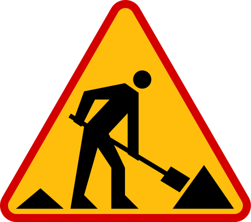 Road work sign on. Danger clipart free clipart graphic black and white library
