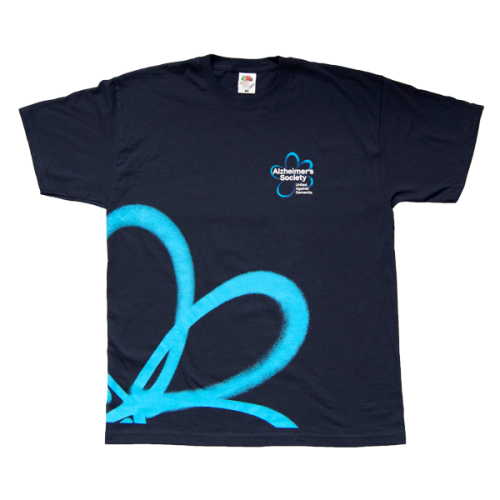 Dark blue tshirt png. With light flower t