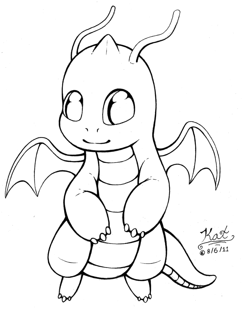 Darkrai drawing colouring page. Chibi dragonite lineart by