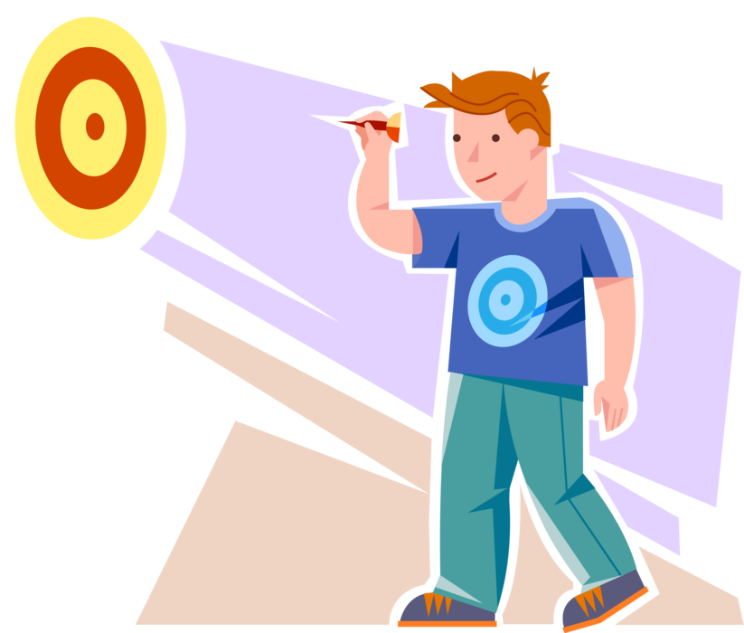 Dart clipart kid. Teenager plays darts vector