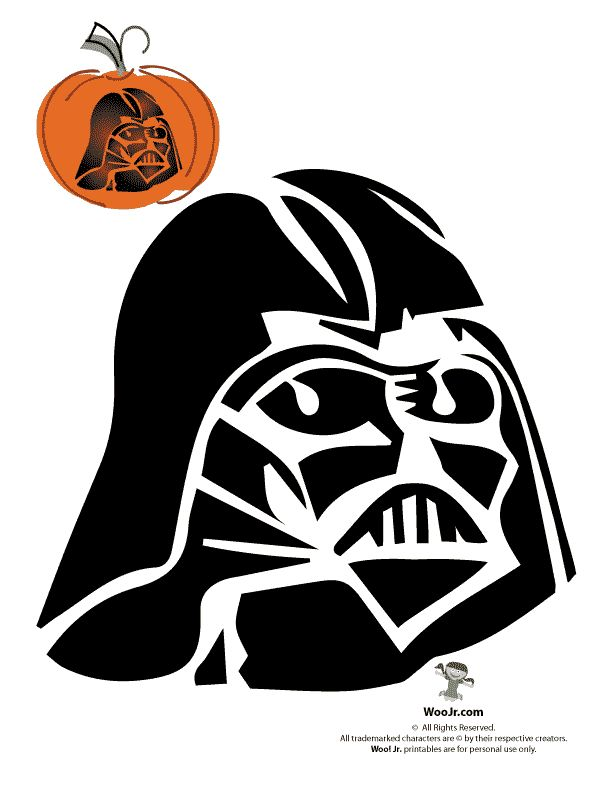 Darth vader clipart cartoon. Pumpkin template stencil free