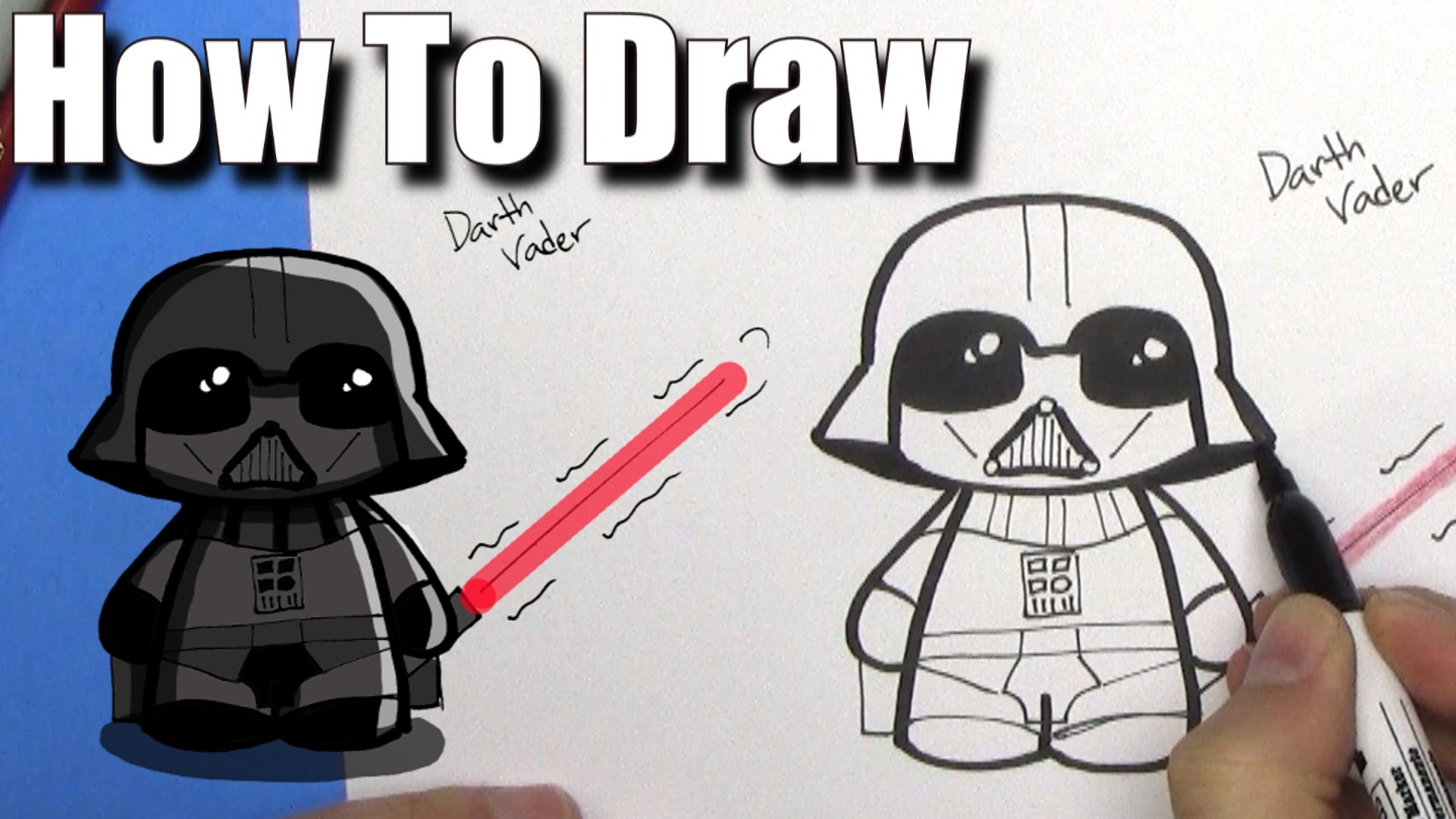 Darth vader clipart cartoon. How to draw cute