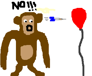 Darts clipart balloon. Monkey sees dart about