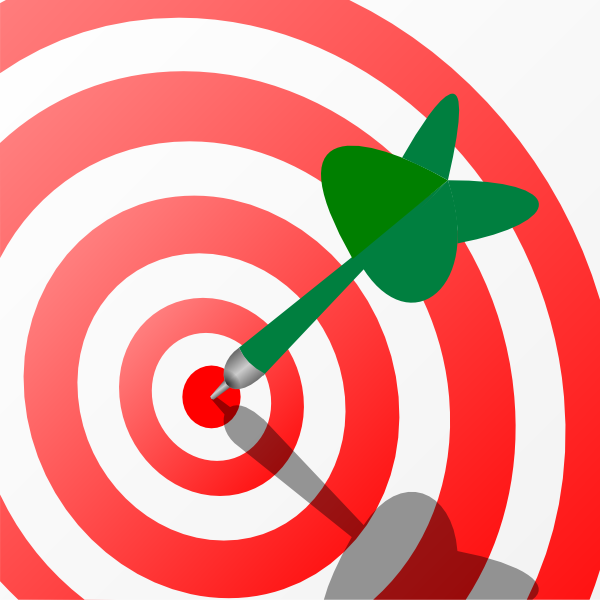 Goals clipart transparent background. Target with green dart