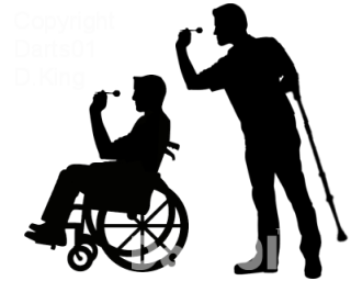 Disability wheelchair disabled dart. Darts clipart player stock